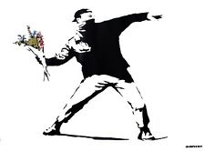Banksy Poster Graffiti Throwing Flowers mit Gratisposter