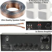 110W Mini Stereo Amplifier System -4x Background Wall Speaker Bedroom Office AUX