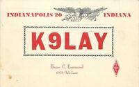 Indianapolis Indiana~K9LAY~Amateur QSL Radio~Bruce Eastmond~Patriotic Eagle~1969