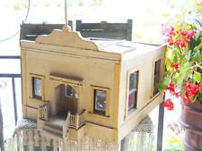 Antique 1920s Rare Prairie Schoolhouse Doll House Signed Folk Art Miniature