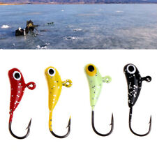 4Pcs/set Ice Fishing Bait Lead Fish Jigging Hook Jig Glow Artificial Lure Tackle