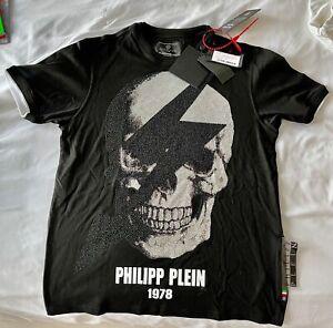 "PHILIPP PLEIN PLATINUM CUT ""SKULL"" BLACK & WHITE FULL RHINESTONE T-SHIRT RARE"