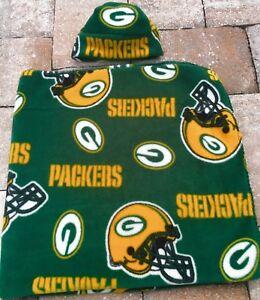 Green Bay Packers Fleece Newborn Infant Baby Receiving Blanket & Hat Gift Set