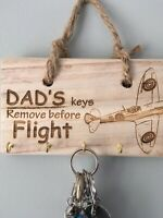 Dad's Key Hanger - Wooden Key Tidy - Spitfire Aircraft - Rustic Gift - Plaque