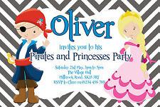 10 PERSONALISED BOYS PIRATES AND PRINCESSES BIRTHDAY PARTY BIRTHDAY INVITATIONS
