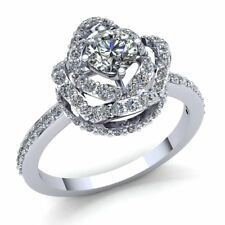 Natural 0.75ct Round Cut Diamond Ladies Twisted Halo Engagement Ring 18K Gold