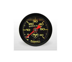 """Marshall 0-60 Psi Fuel / Oil Pressure Gauge Midnight Black 1.5"""" (Liquid Filled)"""