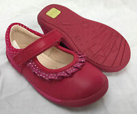 BNIB Clarks Girls Softly Stef Berry Leather/Suede First Shoes E, F & G Fitting