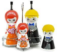 Happy Ceramic Oil and Vinegar Dispensers, Salt and Pepper Shakers Cruet Set