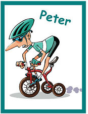 CYCLING - FUNNY PERSONALISED - SOUVENIR  FRIDGE MAGNET - NAMES - NEW