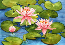 Pink Waterlily 1 Watercolor Painting Reproduction by Wanda's Watercolors