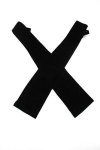 Chanel Womens Elbow Length Fingerless Velvet Evening Gloves Black Size Medium