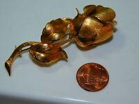 """Vintage Long Stem Rose Flower 2.75"""" Gold tone Brooch Pin 4c 95"""