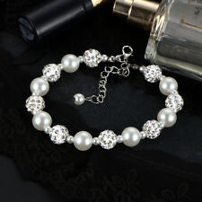 Beautiful Bridesmaid Faux Pearl and Crystal Bracelet