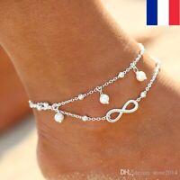 Bracelet de Cheville Argent Signe de l'Infini Infinity Bijou Pied Chaîne Strass