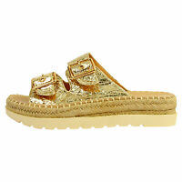 Womens Ladies Flat Wedge Espadrille Mule Sandals Slip On Platform Summer Shoes