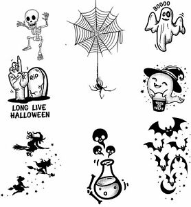 Halloween temporary tattoos for kids ghosts bats spiders witches zombies skulls