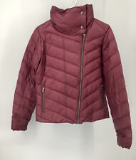 Patagonia Prow Down Feather Jacket Coat Dark Currant Medium Stand Up Snap Collar