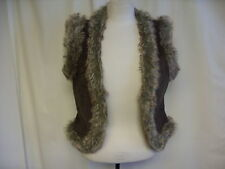 "Ladies Gilet Frida G, faux fur & faux suede, brown, bust 32-34"", length 20"" 0324"