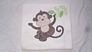 Garanimals Monkey Baby Blanket Fleece Cream Green Leaves #GM4210B 30 x 38