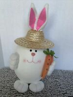 Easter Bunny Rabbit With Straw Hat Styrofoam Filled 19 Inch
