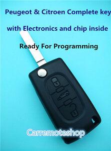 Citroen  Peugeot 3 button complete Remote transponder Key