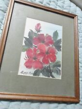"""Peggy Pai, original oil on board """"Hibiscus"""" Hawaii state flower, dedicated"""