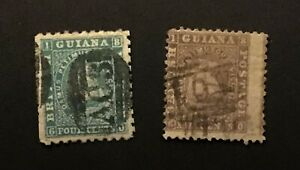 BRITISH GUIANA very early duo of used perf issues unchecked