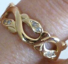 RARE 9ct Solid Gold ~ GENUINE DIAMOND ~ Vintage Insp Ring R18