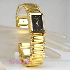 Omax Gold Pl Seiko Movt Biselado minerales Dress Watch W / Cristal Swarovski jes612