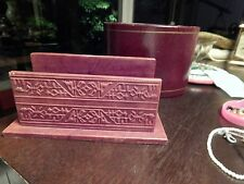 Vintage Lot of Two Letter Holders: 24KT Tooled Leather & Sheep Leather Embossed