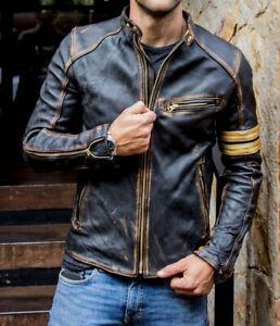 Men's Vintage Biker Black Motorcycle Distressed Cafe Racer Real Leather Jacket