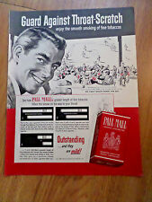 1952 Pall Mall Cigarette Ad At the Baseball Game Theme
