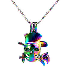 C848 Rainbow Color Cute Rose Skull Flower Locket Beads Pearl Cage Pendant Charms