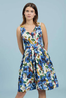 Emily and Fin Emma Dress Blue Blossoming Poppies Size XS