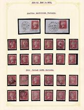 GB. QV. 1856-62. 1d PERFORATED SELECTION. SCOTTISH/IRISH CANCELS.