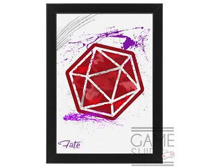 Abstract Splatter D20 Dungeons&Dragons Art Print - Framed/Unframed Gaming Poster