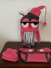 CROCHETED INFANT OWL DIAPER SET/PHOTO PROP 0-6 MONTHS ACRYLIC RED HEART YARN