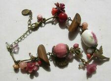 Pink Stone bracelet - beads porcelain glass delicate flowers - Accessorize