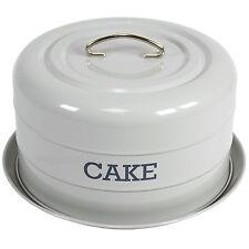 Vintage Domed Cake Storage Tin Holder Plate Stand Enamel Store Dome Kitchen