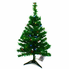 2 FT Artificial Mini Tabletop Christmas Tree Green with  Multi Color LED Light