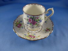 Vintage Royal Albert China  Footed Demi Tasse  Cup and Saucer PETIT POINT