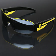 Men's Sport Aviator Sunglasses Baseball Cycling Driving Black Yellow Glasses