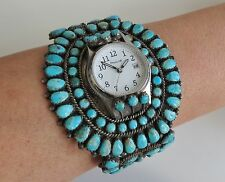 Big vintage Zuni sterling silver turquoise cluster watch cuff bracelet