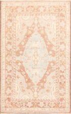 Antique Look Muted Geometric Oushak Turkish Area Rug Vegetable Dye Carpet 3'x5'