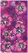 "Flowers Towel Pink Purple Hawaiian Hibiscus Beach Pool Souvenir 30""x60"""