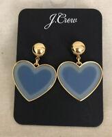 J.Crew HEART DROP EARRINGS IN ACETATE NWT Blue With J.Crew Bag!