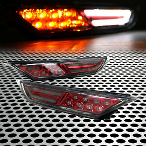 Fits 08-18 GT-R GTR R35 Clear Front Bumper LED Side Marker Lights Set Cherry Red