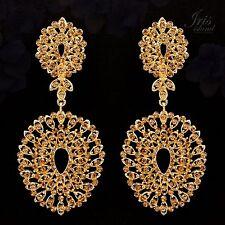 18K Gold Plated GP Topaz Crystal Rhinestone Chandelier Drop Dangle Earrings 0537