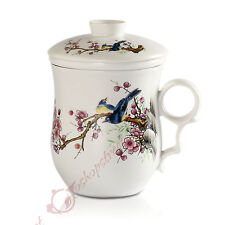 270ml Pied Magpie Chinese Ceramic Porcelain Tea Mug Cup with lid Infuser Filter